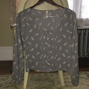 Gray Feather Button Up Shirt